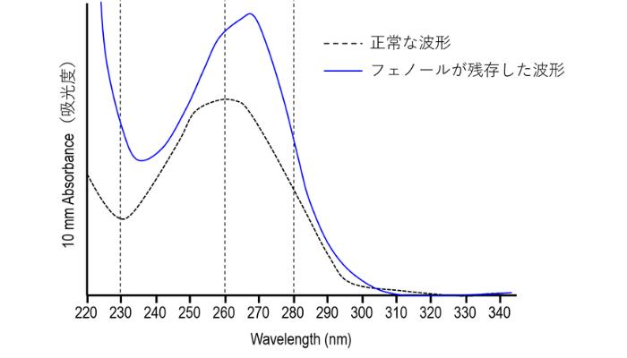 ナノドロップの異常な波形【フェノール混入】