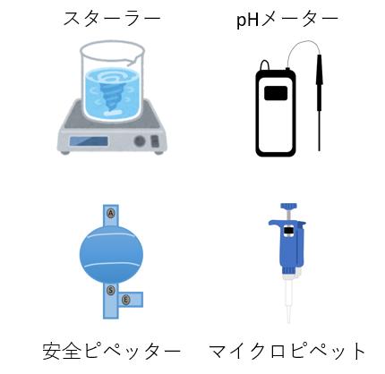 実験室でよく使う器具